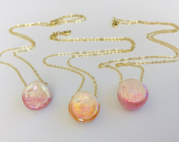 Sunstone Pearl Diffuser Necklace
