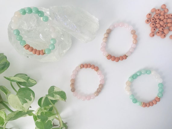 Earthenware Sunstone + Quartz Diffuser Bracelet
