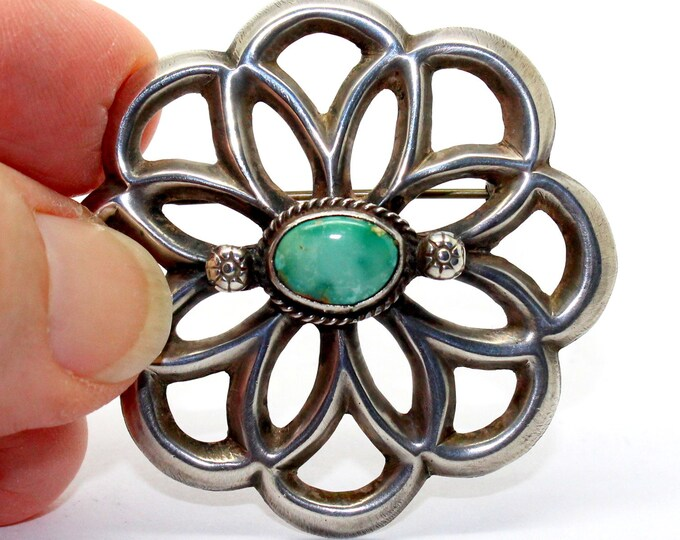 Old Pawn Navajo Turquoise Sand Cast Brooch