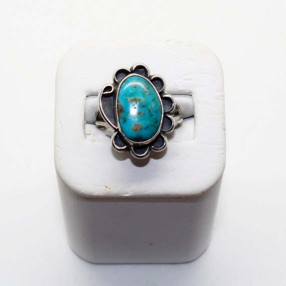 Free Shipping Incredible Vintage 1960/'s 1970/'s Native American Navajo Turquoise Ring