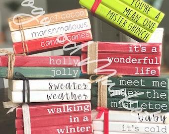 Christmas, Mini wooden farmhouse book stacks, tiered tray decor, handmade decor