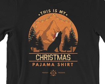 f116fae2f9 This Is My Christmas Pajama Shirt Funny Family T Shirt Gray Wolf Silhouette  Holiday String Lights Xmas PJ Gift Unisex T-Shirt