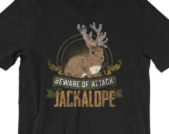 89684a22 Funny Jackalope Cryptozoology T-Shirt, Beware of Attack Jackalope Unisex Tee  Shirt, Mythical Creatures, Folklore Critters