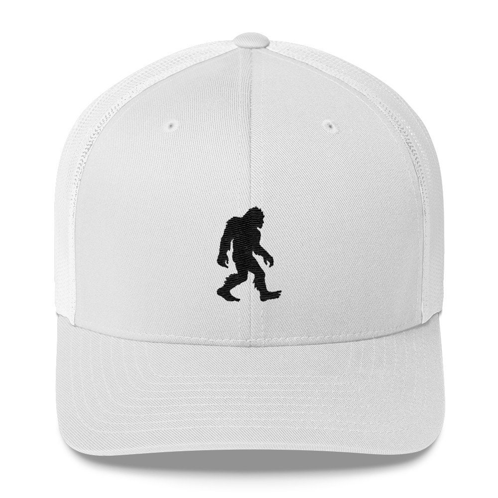 42e2f4de944 Sasquatch Embroidered Trucker Cap Bigfoot Silhouette Hat