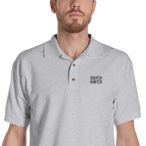 Mens Bigfoot Embroidery Long Sleeve Polo Shirts