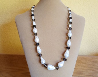"""Large Baroque and Faceted Smokey Quartz Crystal Beaded 28"""" Necklace"""