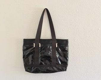 68152aebaf Black Vintage LeSport Sac Nylon Tote Bag Black Goth Fashion Handbag 80s 90s