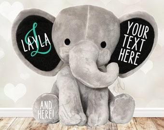 Custom Stuffed Elephant, Personalized Plush, Monogrammed Elephant, Newborn Gift Keepsake Elephant, Baby Shower Gift, Design Your Own