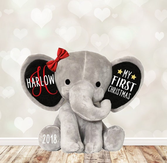 My 1st First Christmas Personalized Elephant Plush Baby S Etsy