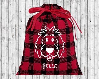 Personalized Christmas Gift Bags, reusable gift bags, cotton gift bags, doodle Christmas, Christmas doodle