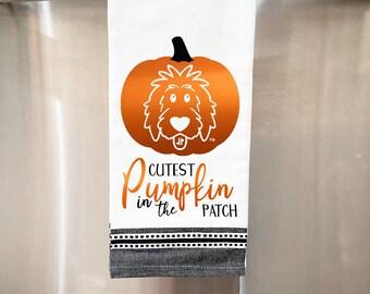 Pumpkin Doodle Kitchen Towel, dog kitchen towel, doodle decor, Fall kitchen towel, Halloween kitchen towel, Thanksgiving kitchen towel