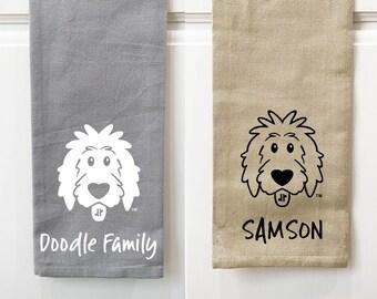 Personalized Doodle Kitchen Towels, Christmas kitchen towel, dog kitchen towel, goldendoodle kitchen towel, doodle decor