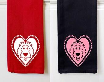 Doodle Heart Kitchen Towels, Valentine kitchen towel, dog kitchen towel, doodle kitchen towel, doodle decor, dog decor