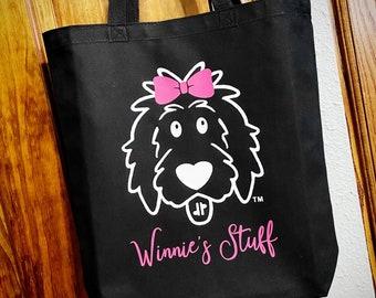 Doodle Girl Tote Bag, doodle tote, doodle bag, doodle mom, dog mom bag, goldendoodle bag