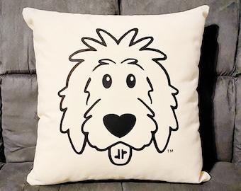 "Doodle Pillow Cover 18""x18"" - dog pillow, dog bed, goldendoodle, sheepadoodle, labradoodle, bernedoodle, doodle mom"