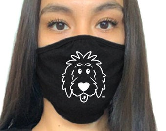 Doodle Face Mask, doodle mask, dog mask, dog face mask, dog lover face mask, dog mom face mask, dog dad face mask