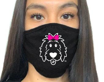 Girl Doodle Face Mask, doodle mask, dog mask, dog face mask, dog lover face mask, dog mom face mask, dog dad face mask