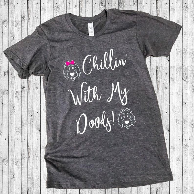 Grey Chillin' With My Doods Doodle Shirt  Short Sleeve Vneck