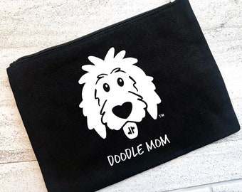 Doodle Zipper Pouch - personalized zipper pouch, dog snack pouch, dog makeup bag, dog cosmetic pouch, dog pencil case