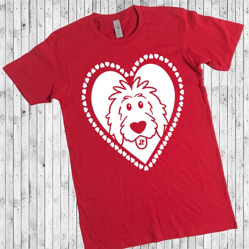 Doodle Heart Red Shirt  Valentine's Day doodle shirt image 0