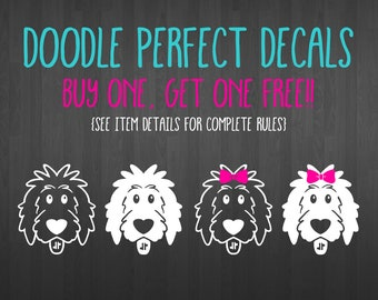BOGO Free! Doodle Perfect Decals, doodle decal, dog decal, goldendoodle decal, doodle sticker, dog sticker, doodle mom, doodle dad