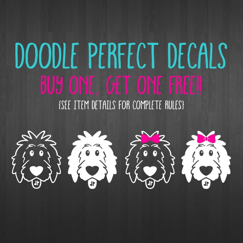 BOGO Free Doodle Perfect Decals doodle decal dog decal image 0