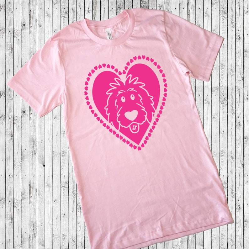 Doodle Heart Pink Shirt  Valentine's Day doodle shirt Hot Pink