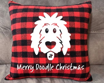 "Flannel Doodle Pillow Cover 18""x18"", Christmas pillow, Christmas doodle, buffalo plaid, doodle pillow, dog pillow, goldendoodle pillow"