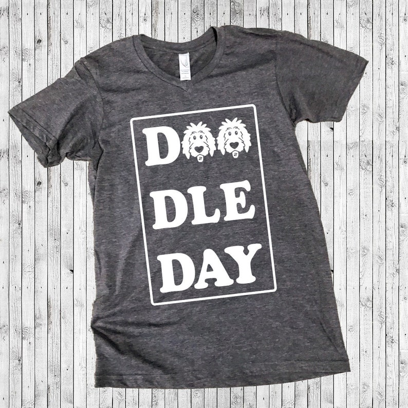 Doodle Day Short Sleeve Shirts  doodle shirt doodle mom HeatherCharcoalVneck