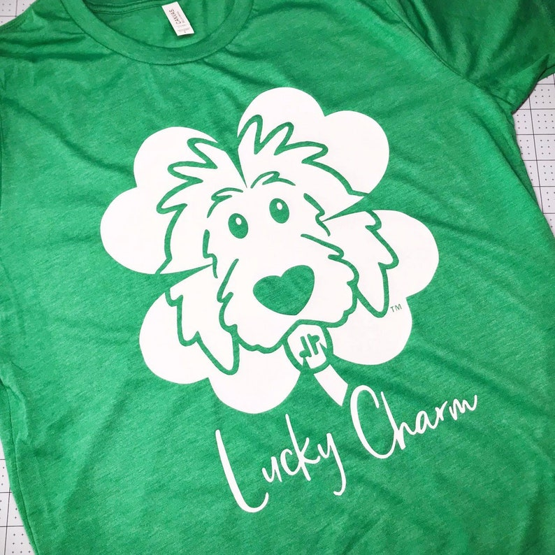 Clover Doodle Heather Green T-shirt  St. Patrick's Day image 0