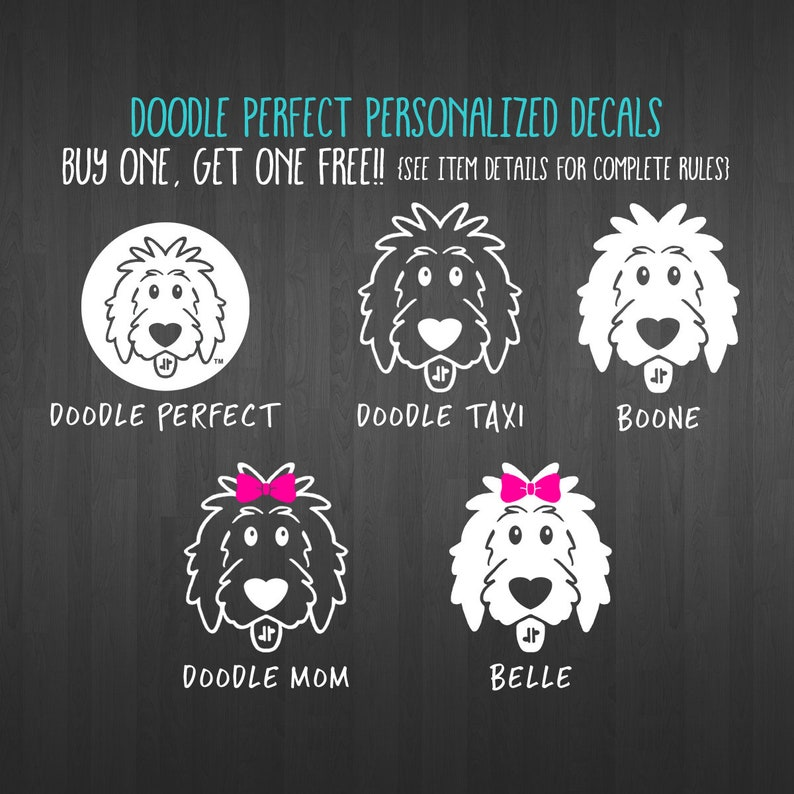 BOGO Free Personalized Doodle Decals  doodle decal dog image 0