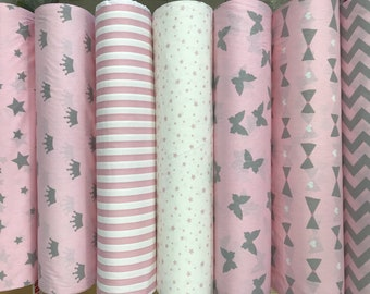 Single bedding, Twin bed linen, pink bedding, mint bedding, stars bedding set, duvet cover, pillowcase, organic cotton, two-sided bed linen