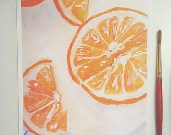Orange Slices Gouache~Print