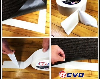 """REVO Double Sided Carpet Tape - Professional Quality - 3 Size Choices (1.5"""" x 36YD) (2"""" x 36YD) (3"""" X 36YD) Made in USA!"""