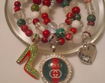 Inspired handmade, stacked, gift, birthday, bead bracelet set SOLD