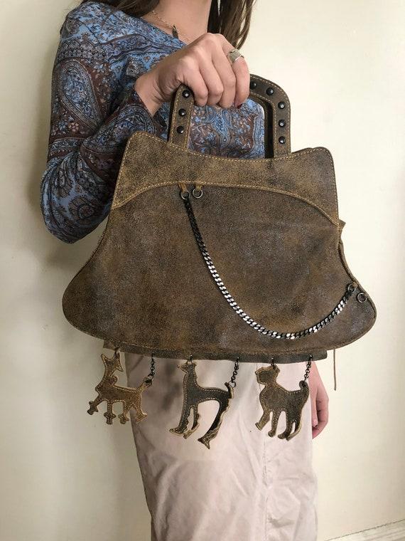 Dog Charm Distressed Leather Purse - image 2