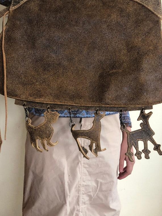 Dog Charm Distressed Leather Purse - image 5
