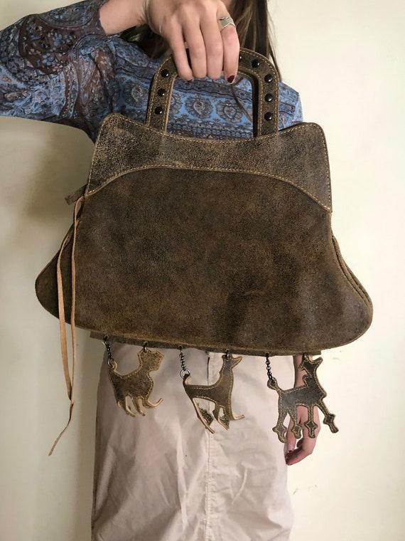 Dog Charm Distressed Leather Purse - image 3