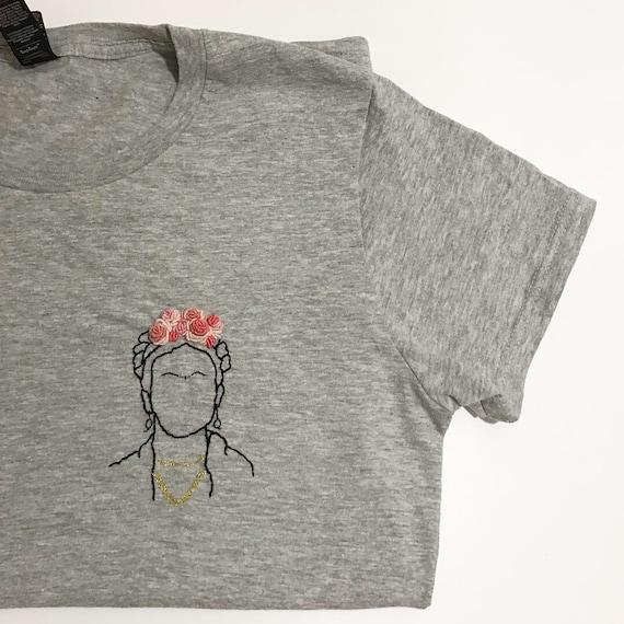 f0875987 Frida Kahlo hand embroidered tee | Etsy
