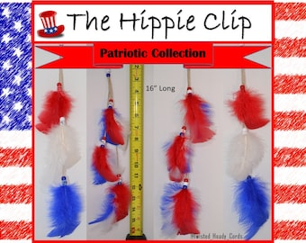 The Hippie Clips Patriotic Collection Feather Clips