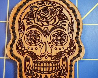 Keychain - Leather - Sugar Skull Design - Day of the Dead