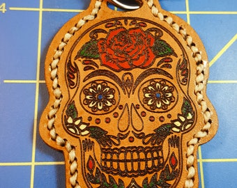 Keychain - Leather - Hand Painted - Double Sided - Sugar Skull Design - Day of the Dead