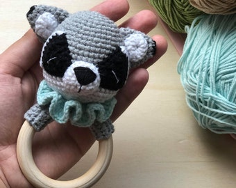 Raccoon baby rattle, Woodland creatures baby shower gift, Forest animal toy, Pregnancy gift idea, Crochet rattle toy, Newborn gift, Baby