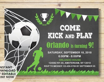 Soccer Invitation, Soccer birthday invitation, Soccer Party, INSTANT DOWNLOAD, Soccer birthday, Football Birthday Party, Soccer