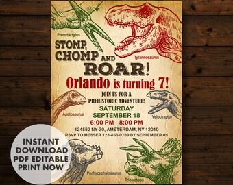Dinosaur Birthday InvitationDinosaur Invitation Party INSTANT DOWNLOAD T Rex Invitations