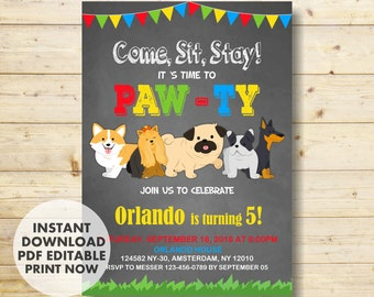 Puppy Birthday Invitation Party INSTANT DOWNLOAD Dog Invitations