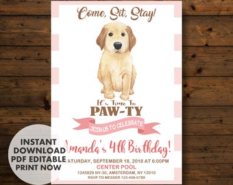 Puppy Invitation Birthday Party INSTANT DOWNLOAD Dog Invitations