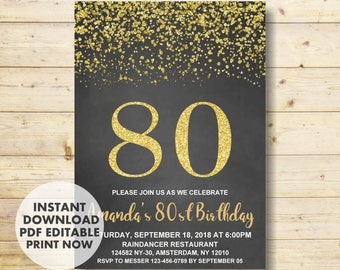 80th Birthday Invitation Gold Party INSTANT DOWNLOAD Invitations For Women