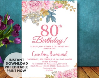 80th Birthday Invitation For Her Floral Roses INSTANT DOWNLOAD Invitations Women 80