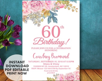 60th Birthday Invitation For Her Floral Roses INSTANT DOWNLOAD Invitations Women 60